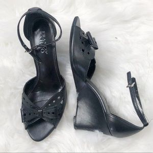 Franco Sarto black wedge heel sandals with bow 8M